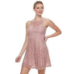 Juniors' Liberty Love Illusion Lace Skater Dress