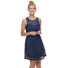 Juniors' Liberty Love Illusion Lace Skater Dress