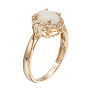 10k Gold Opal & 1/6 Carat T.W. Diamond Oval Halo Ring