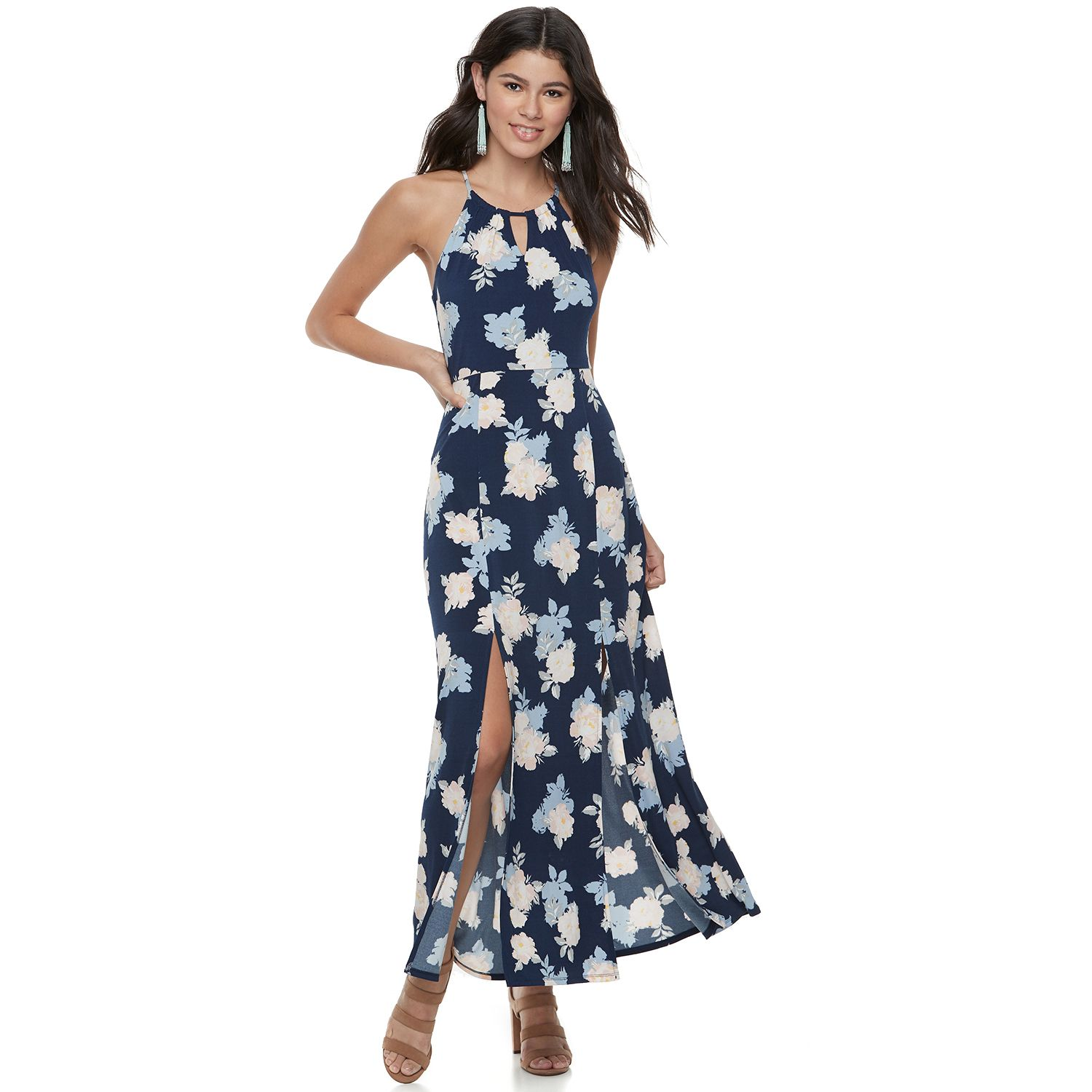 Juniorsu0027 Candieu0027s® Print Halter Maxi Dress