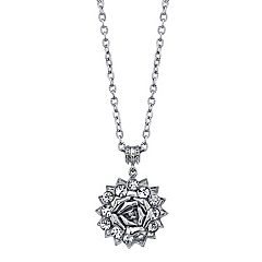 1928 Silver Tone Rose & Simulated Crystal Pendant Necklace