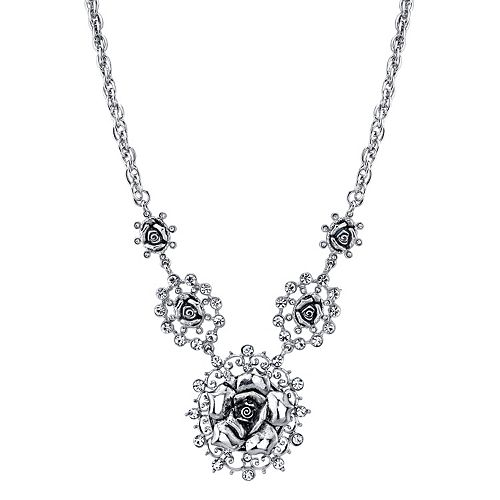 1928 Silver Tone Rose & Simulated Crystal Necklace