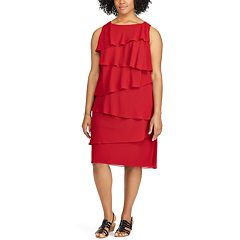 Plus Size Chaps Tiered Georgette Sheath Dress