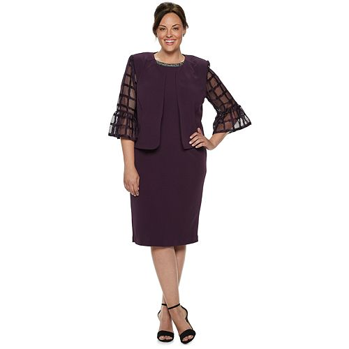41e79a19339e Plus Size Maya Brooke Embellished Sheath Dress & Lace Jacket Set