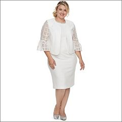 Plus Size Maya Brooke Embellished Sheath Dress & Lace Jacket Set