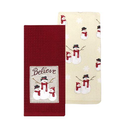 St. Nicholas Square® Snowman Patch Kitchen Towel 2-pack