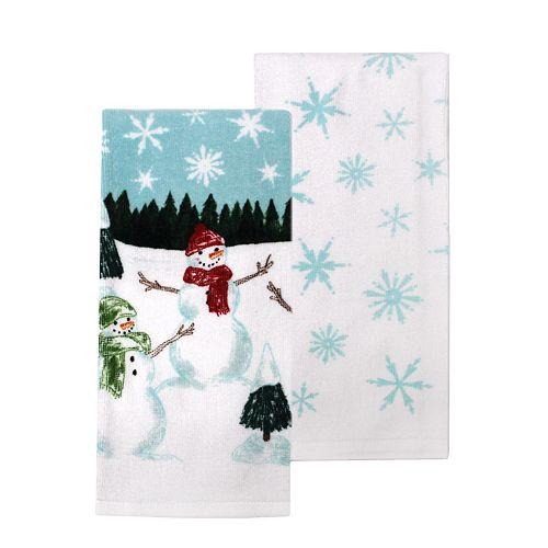 St. Nicholas Square® Snowman Scene Kitchen Towel 2-pack