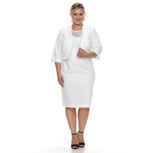 Plus Size Maya Brooke Embellished Jacket & Dress Set