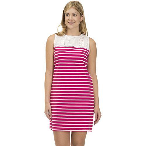 Women's IZOD Eyelet Striped Shift Dress
