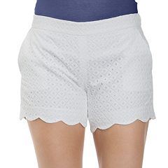 Women's IZOD Eyelet Scalloped Midrise Shorts