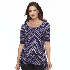 Women's Dana Buchman Print Elbow Sleeve Sharkbite Top