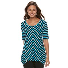Women's Dana Buchman Print Elbow Sleeve Sharkbite Top