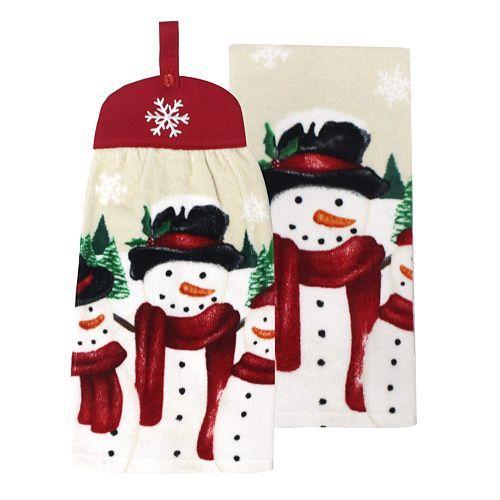 St. Nicholas Square® Snowman Tie-Top Kitchen Towel 2-pack