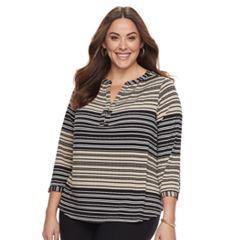 Plus Size Dana Buchman Knit Henley Top