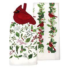 St. Nicholas Square® Cardinal Tie-Top Kitchen Towel 2-pack