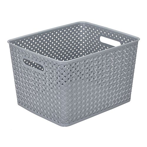 Simplify Basketweave Resin Wicker Large Storage Tote