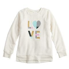Girls 4-12 Jumping Beans® Lurex Applique Plush Pullover