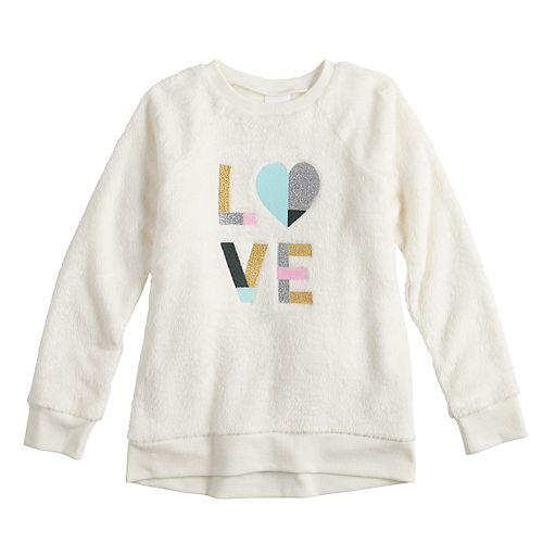 Girls 4-12 Jumping Beans® Lurex Applique Plush Pullover