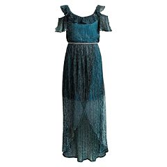 Girls 7-16 Emily West Pleated Metallic Cold-Shoulder Dress