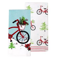 St. Nicholas Square® Holiday Bicycle Kitchen Towel 2-pack