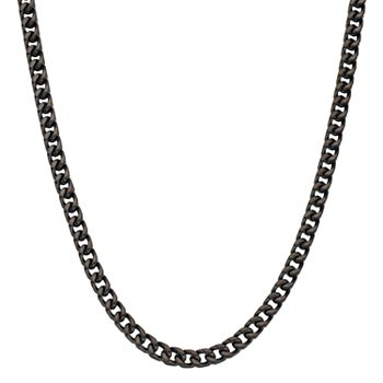 LYNX Men's Black Ion Plated Stainless Steel Foxtail Chain