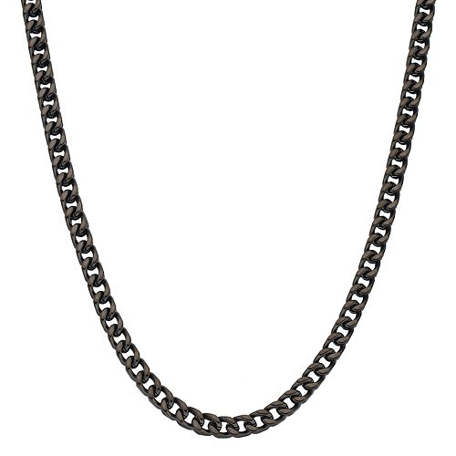 LYNX Men's Black Ion Plated Stainless Steel Foxtail Chain Necklace