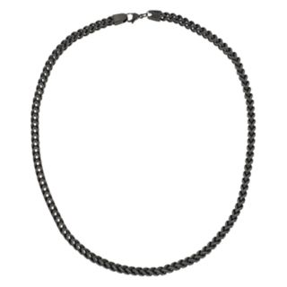 LYNXMen's Black Ion Plated Stainless Steel Foxtail Chain Necklace