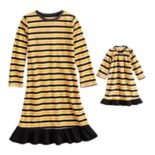 Toddler Jammies For Your Families Halloween Microfleece Striped Nightgown & Doll Gown Pajama Set
