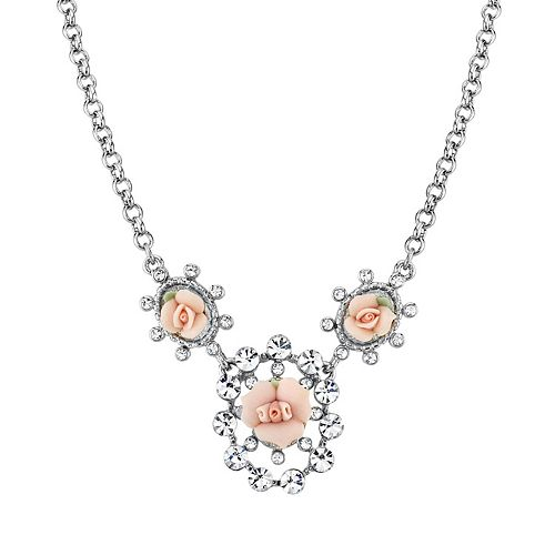 1928 Porcelain Rose & Simulated Crystal Necklace