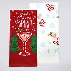 St. Nicholas Square® Cocktails Kitchen Towel 2-pack