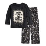 "Toddler Jammies For Your Families New Year's Eve ""Party Patrol"" Top & Microfleece Bottoms Pajama Set"