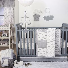 The Peanut Shell Patchy Cloud Quilt, Dust Ruffle, Fitted Crib Sheet & Musical Mobile Set