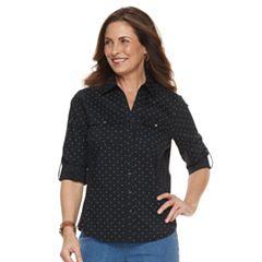 Petite Croft & Barrow® Knit-to-Fit Roll-Tab Shirt