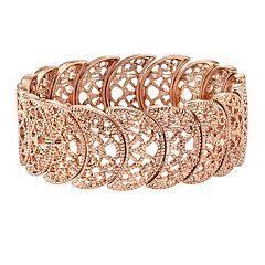 1928 Rose Gold Tone Filigree Stretch Bracelet