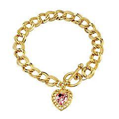 1928 Simulated Crystal Heart Charm Bracelet