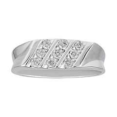 Men's 10k White Gold 3/8 Carat T.W. Diamond Triple Row Ring