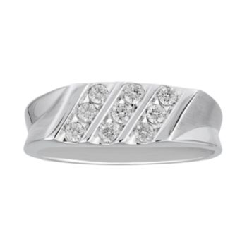 Men's 10k White Gold 3/8 Carat T.W. Diamond Triple Row Ring