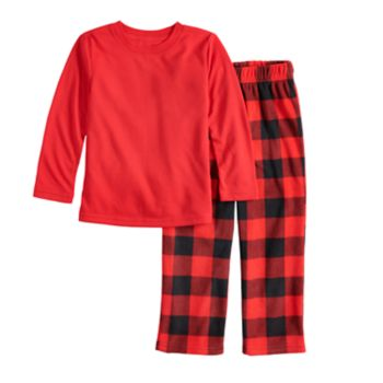 Toddler Jammies For Your Families Top & Buffalo Checkered Microfleece Bottoms Pajama Set