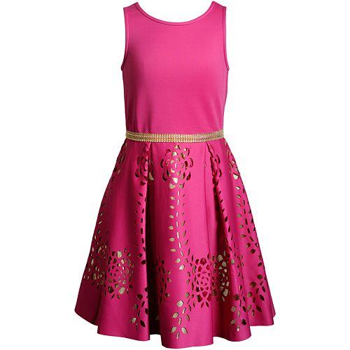 Girls 7-16 Emily West Laser Cut Metallic Fit & Flare Dress