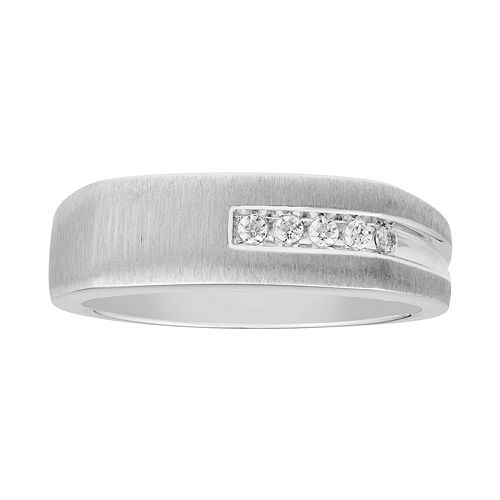 Men's 10k White Gold 1/10 Carat T.W. Diamond Channel Ring