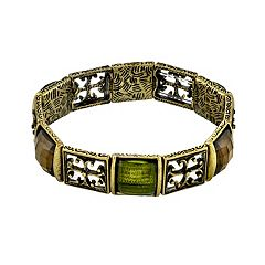 1928 Green Simulated Crystal Stretch Bracelet