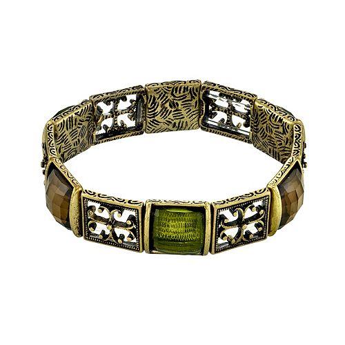 1928 Green Simulated Crystal Stretch Bracelet