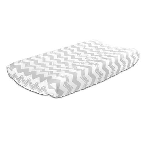 The Peanut Shell Chevron Gray Changing Pad Cover