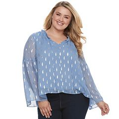 Plus Size Jennifer Lopez Print Chiffon Top