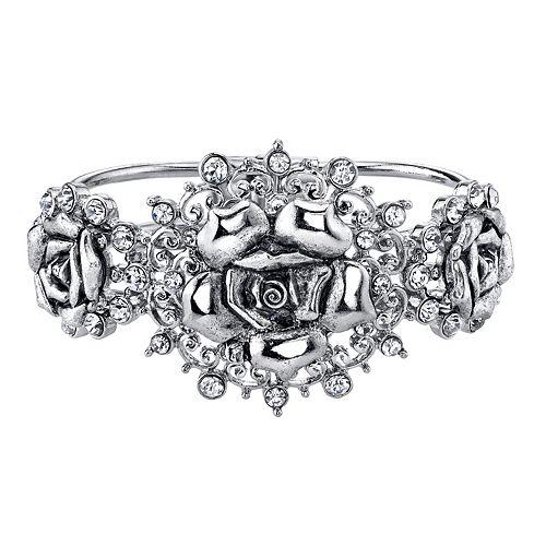1928 Simulated Crystal Rose Hinge Bracelet