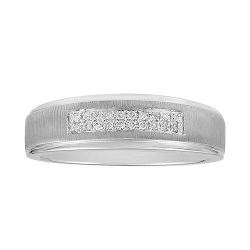 Men's 10k White Gold 1/10 Carat T.W. Diamond Double Row Ring