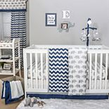 The Peanut Shell Elephant & Chevron Quilt, Dust Ruffle, Fitted Crib Sheet & Musical Mobile Set