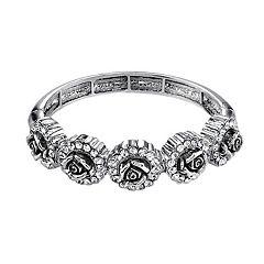 1928 Silver Tone Rose Hinge Bracelet