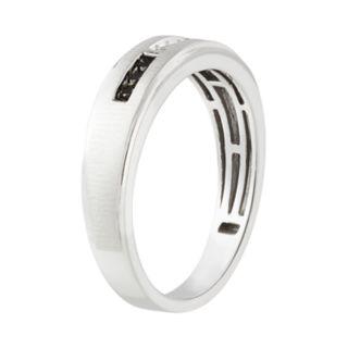 Men's 10k White Gold 1/10 Carat T.W. Black & White Diamond Ring