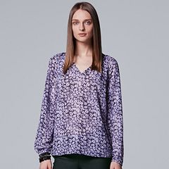 Women's Simply Vera Vera Wang Pintuck Peasant Top